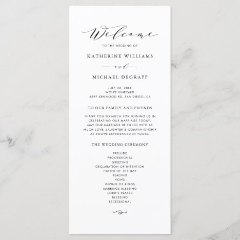 Black Minimalist Dainty Script Wedding Ceremony Program