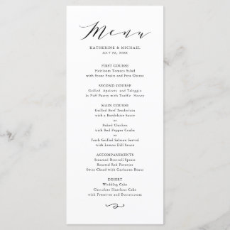 Black Minimalist Dainty Script Wedding Menu