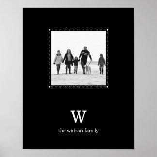 Black Minimalist Personalized Photo Mat Poster