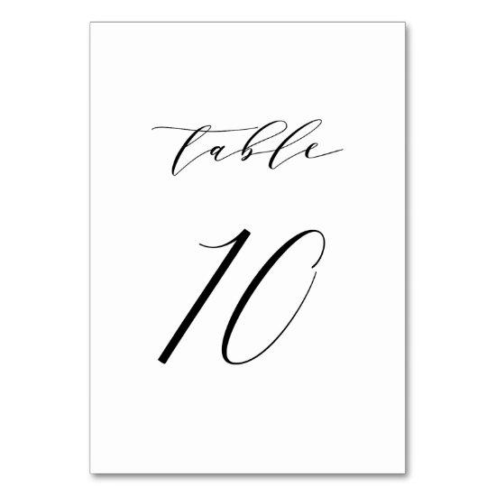 Black Minimalist Script Wedding Table Number 10