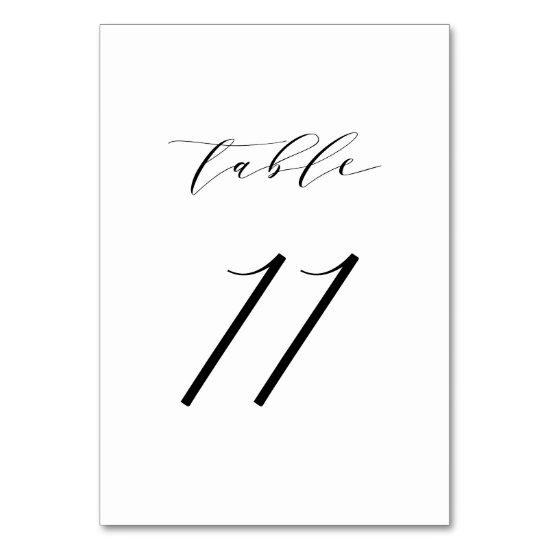 Black Minimalist Script Wedding Table Number 11