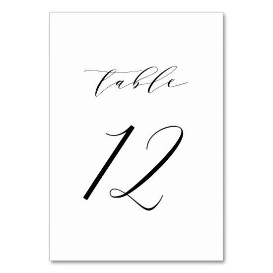 Black Minimalist Script Wedding Table Number 12