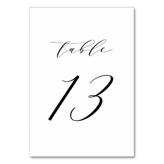 Black Minimalist Script Wedding Table Number 13