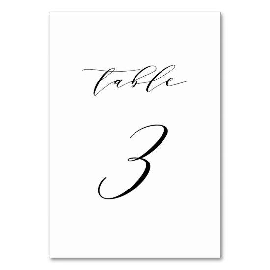 Black Minimalist Script Wedding Table Number 3