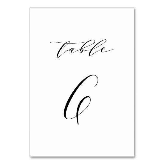 Black Minimalist Script Wedding Table Number 6