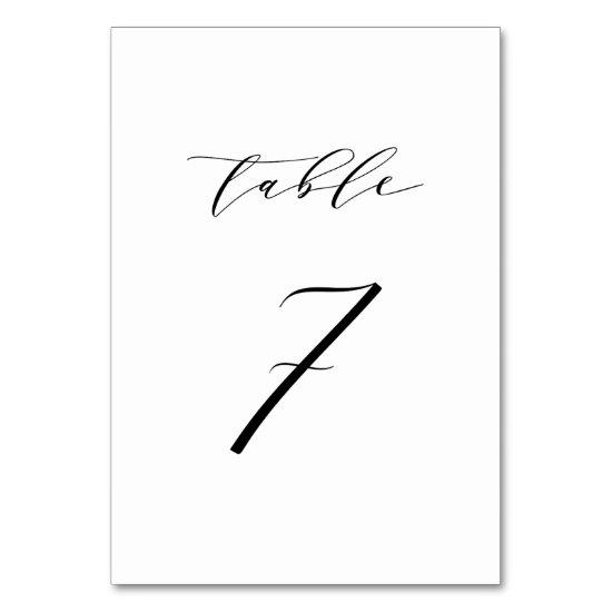 Black Minimalist Script Wedding Table Number 7