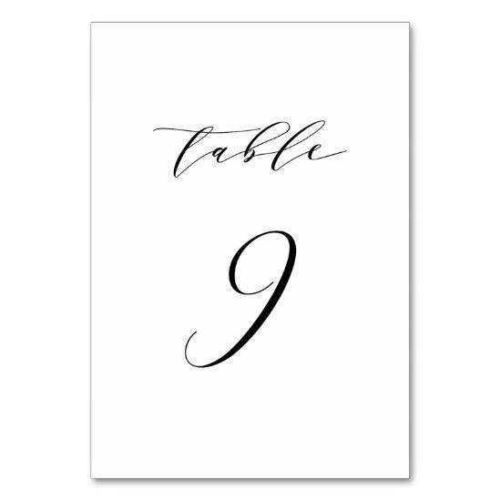Black Minimalist Script Wedding Table Number 9