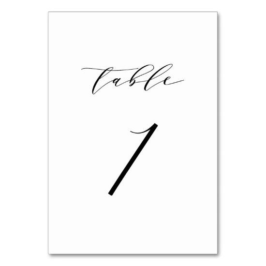 Black Minimalist Script Wedding Table Number Card