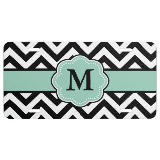 Black Mint Green Chevron Monogram License Plate