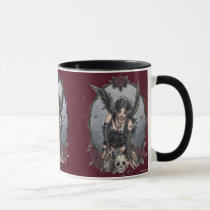 gothic, angel, fairy, dark, goth, fantasy, black, misery, rose, skull, devil, pinup, delphine, levesque, demers, zerick, crow, raven, feather, sad, punk, Mug with custom graphic design