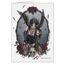 gothic, angel, fairy, dark, goth, fantasy, black, misery, rose, skull, devil, pinup, delphine, levesque, demers, zerick, crow, raven, feather, sad, punk, vampires, Card with custom graphic design