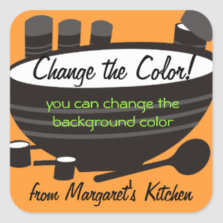 Black mixing bowl cannisters baking gift tag label square sticker