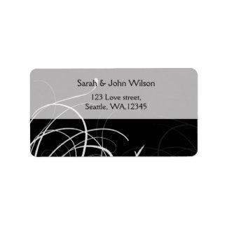 black mod swirls address labels