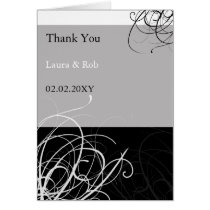 black mod wedding Thank You Card