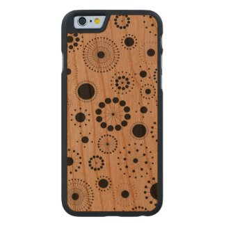 Black Modern Abstract Stars & Circles Pattern Carved® Cherry iPhone 6 Slim Case