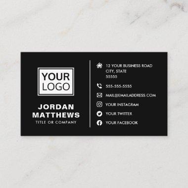 Black modern add logo social media icons business card