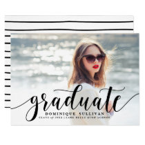 Black Modern Calligraphy Graduation Announcement
