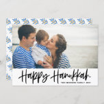"""Black Modern Calligraphy Happy Hanukkah Photo Holiday Card<br><div class=""""desc"""">Happy Hanukkah! Send Hanukkah wishes to family and friends with this customizable photo flat card. It features black modern calligraphy with an olives pattern. Personalize by adding names and a photo. This Happy Hanukkah script card is available in other cardstock.</div>"""