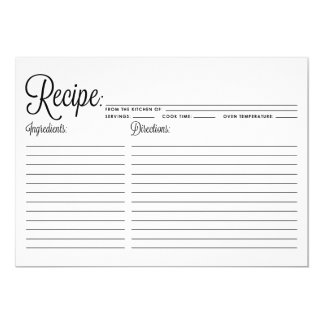 Black Modern Calligraphy Striped Recipe Card