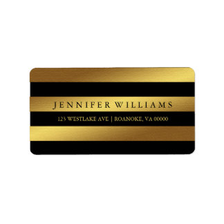 Black Modern Faux Gold Foil Stripes Label