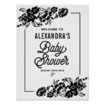 Black Modern Floral Accents Baby Shower Sign
