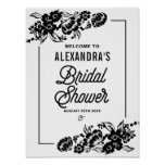 Black Modern Floral Accents Bridal Shower Sign