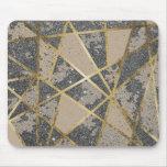 Black Modern Glitter Geo Gold Triangles Mouse Pad