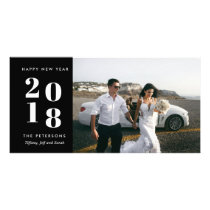Black Modern Happy New Year Wedding Photo Card