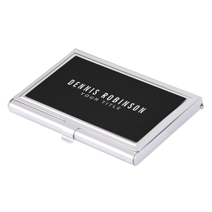Black modern masculine personalized business card for Modern business card case