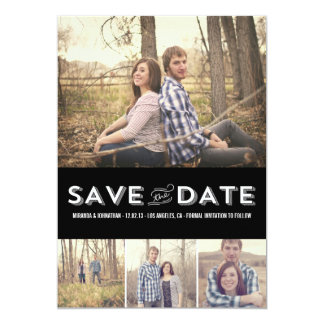 Black Modern Photo Save The Date Announcements