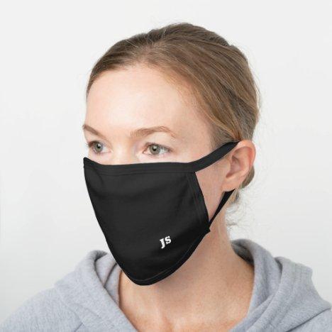 Black Modern Simple Monogram For Him or Family Black Cotton Face Mask
