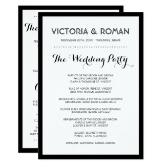 Black Modern Simple Wedding Programs