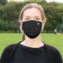 Black Modern Stylish Monogram For Him or Family Adult Cloth Face Mask