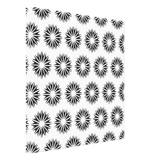 Black Modern Sunbursts Stretched Canvas Print