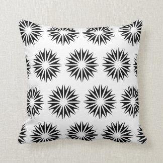 Black Modern Sunbursts Throw Pillows