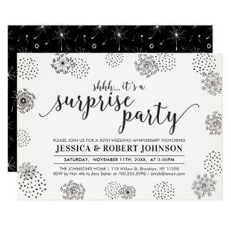 Black | Modern Surprise 50th Wedding Anniversary Invitation