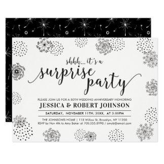 Black | Modern Surprise 50th Wedding Anniversary Invitation
