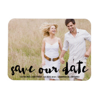 Black Modern Typography Save the Date Magnet