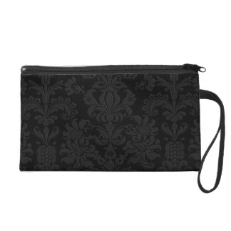 Black Monochromatic Vintage Floral Damasks 2 Wristlet Purse