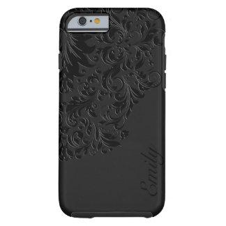 Black Monochromatic Vintage Floral Lace Tough iPhone 6 Case