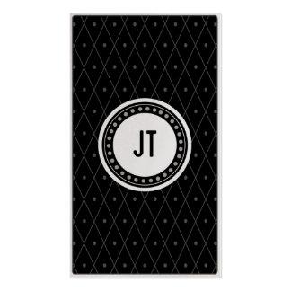 Black monochrome Vintage Gambler Cowboy Business Card