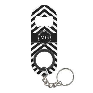 Black Monogram Chevron - Bottle Opener Key Chain