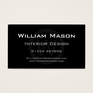 Black Monogram Circle - Professional Business Card