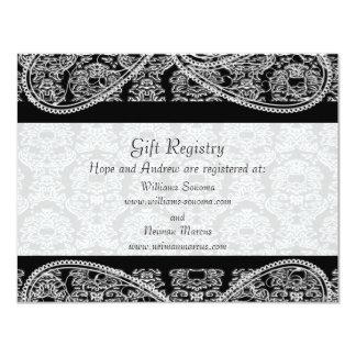Black Monogram Damask Gift Registry Wedding Card