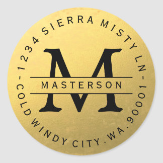 Black Monogram Gold Circular Return Address Label Classic Round Sticker
