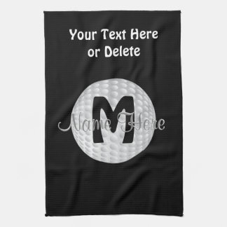Black Monogram Golf Towels, Your Name, COLORS Hand Towel