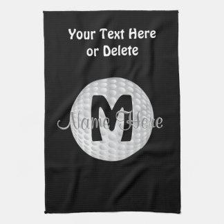 Black Monogram Golf Towels, Your Name, COLORS Hand Towel