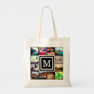 Black Monogram Instagram Photo Collage Budget Tote Bag