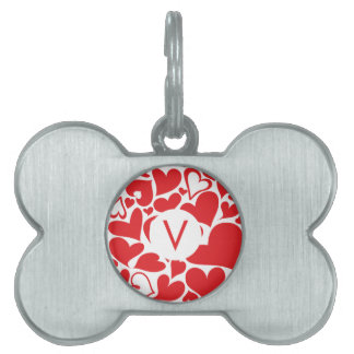 black Monogram Love red sweetheart Valentine's Day Pet ID Tag