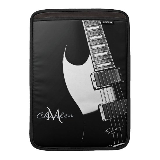 Black Monogram Music Guitar MacBook Air Sleeve
